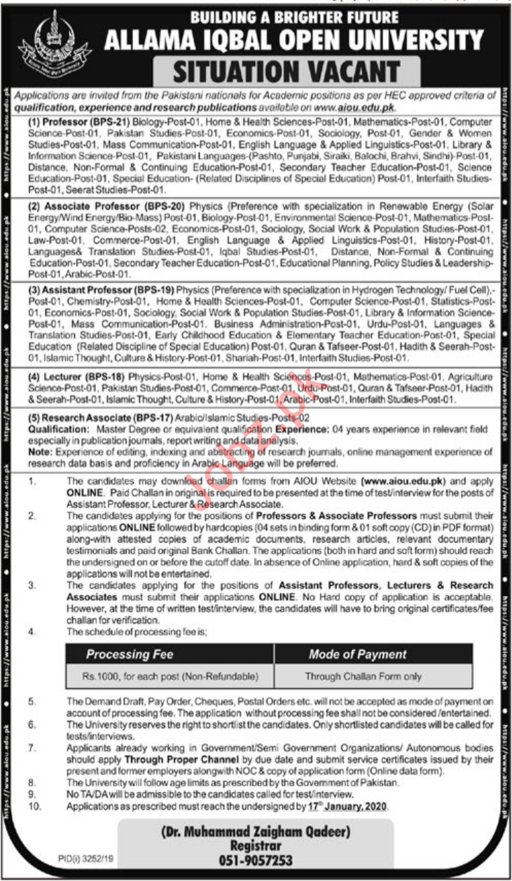 Allama Iqbal Open University AIOU Jobs 2020 in Islamabad