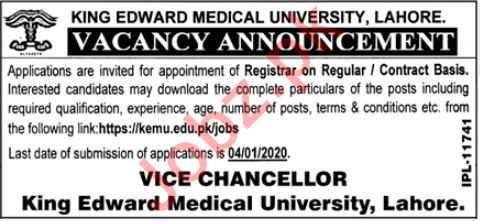 King Edward Medical University Job 2020 For Registrar