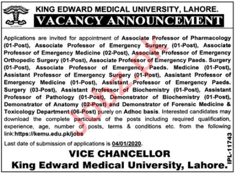 King Edward Medical University Faculty Jobs 2020 in Lahore