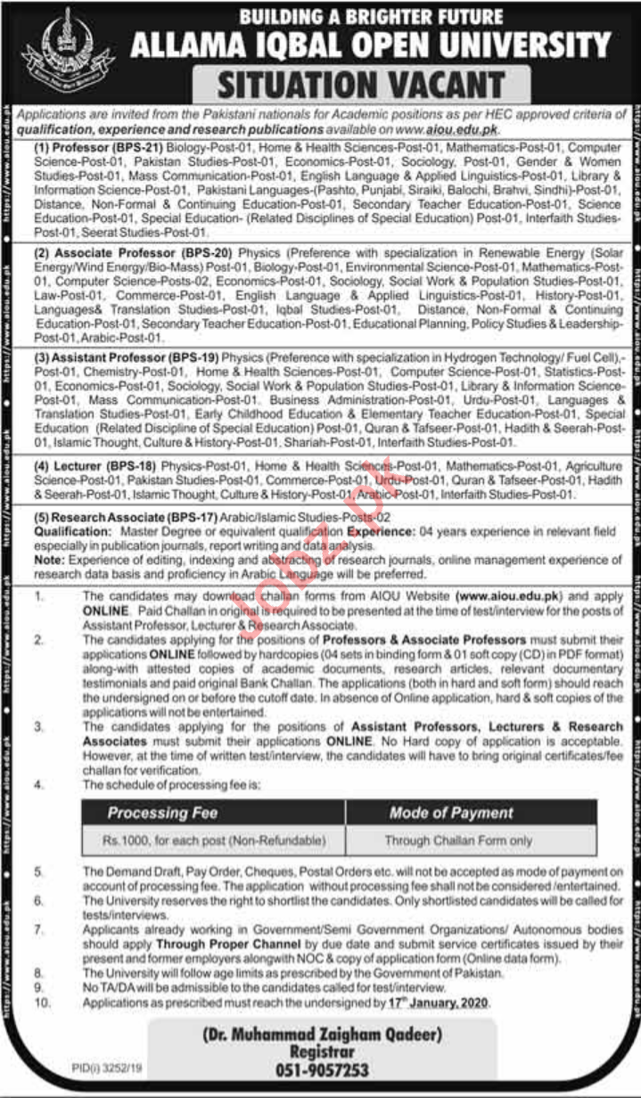 Allama Iqbal Open University AIOU Faculty Jobs 2020
