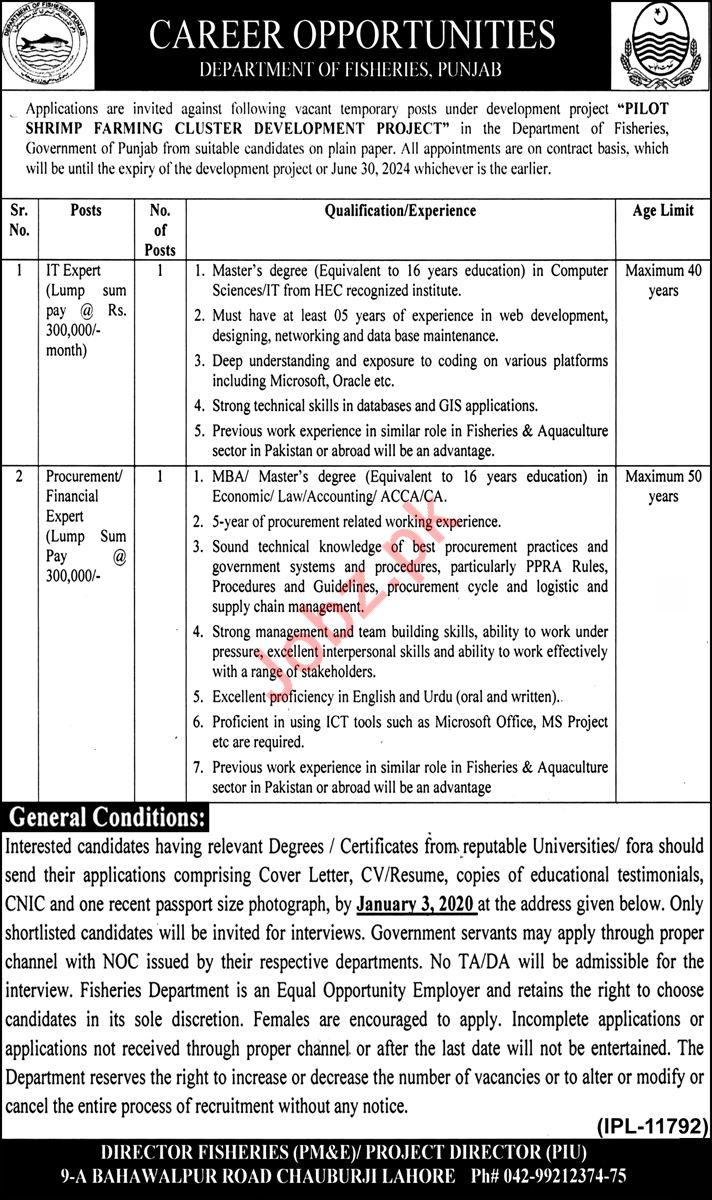 Fisheries Department Punjab Jobs 2020