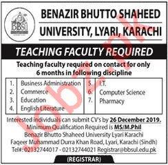 Benazir Bhutto Shaheed University BBSULTeaching Jobs 2020