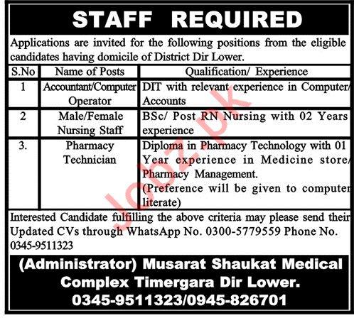 Musarat Shaukat Medical Complex Medical Staff Jobs 2020