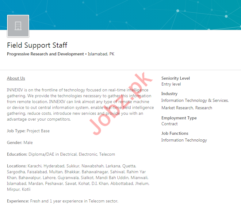 Field Support Staff Jobs 2020