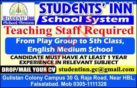 Students Inn School System Teaching Staff Jobs 2020