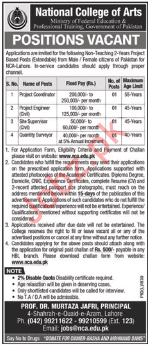 National College of Arts Jobs For Non Teaching Staff
