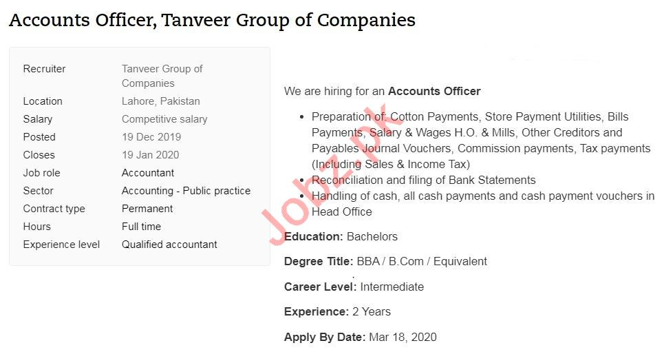 Tanveer Group of Companies Lahore Jobs 2020 for Accountant