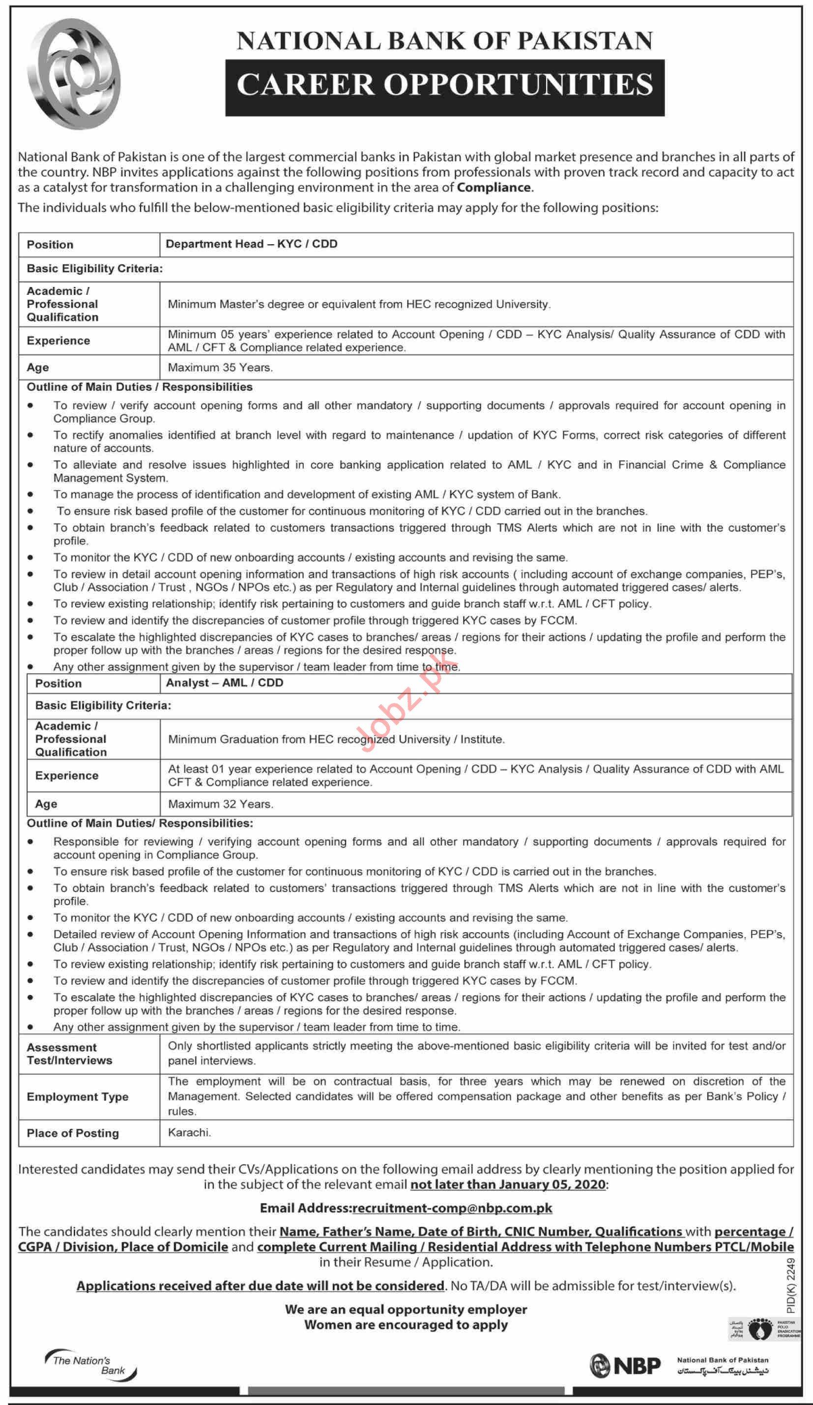 National Bank of Pakistan NBP Jobs 2020 in Karachi