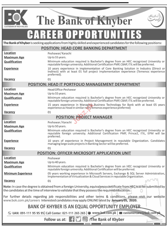The Bank of Khyber Jobs 2020 in Karachi & Peshawar