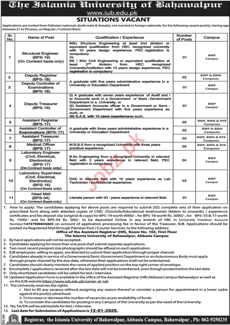 The Islamia University of Bahawalpur Jobs 2020