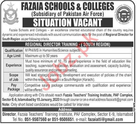 PAF Fazaia Schools & Colleges Jobs 2020 in Islamabad