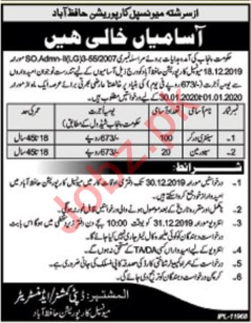 Municipal Corporation Office Jobs 2020 in Hafizabad