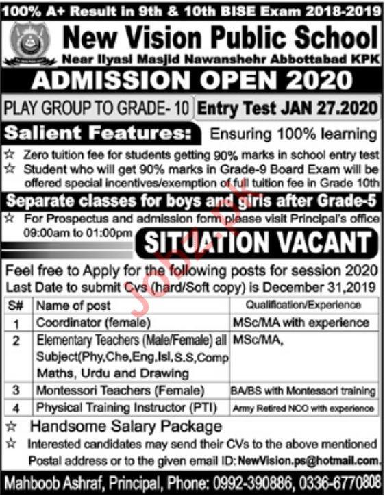 New Vision Public School Jobs 2020 in Abbottabad KPK