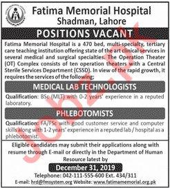 Fatima Memorial Hospital Jobs 2020 in Lahore