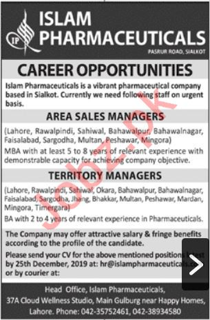 Islam Pharmaceuticals Rawalpindi Jobs 2020 for Sales Manager
