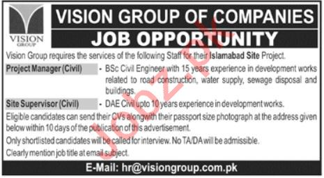 Vision Group Lahore Jobs 2020 for Project Manager