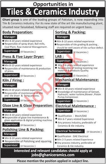 Ghani Ceramics Limited Jobs 2020 in Faisalabad