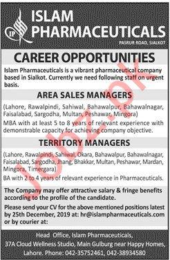 Islam Pharmaceuticals Company Jobs 2020 in Sialkot