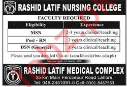 Rashid Latif Nursing College Faculty Jobs in Lahore