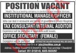 Health Tech Rawalpindi Jobs 2020 for Managers & Auditors