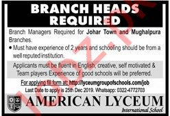 Branch Heads & Branch Managers Jobs 2020 in Lahore