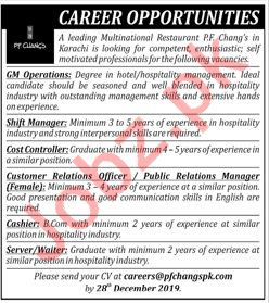 PF Changs Karachi Jobs 2020 for GM Operations & Cashier