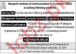 Newports Institute of Communications & Economics NICE Jobs