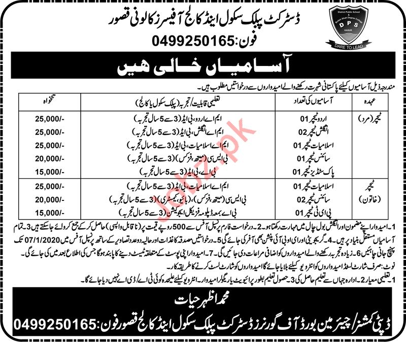 District Public School & College Jobs For Teaching Staff