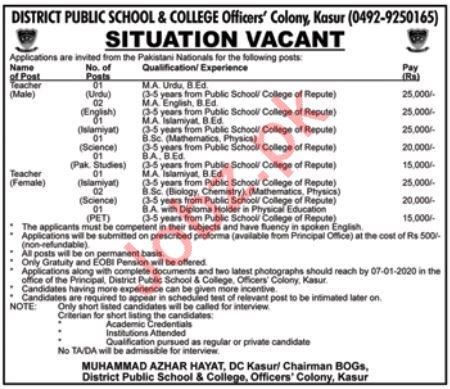 District Public School & College Teaching Staff Jobs 2020