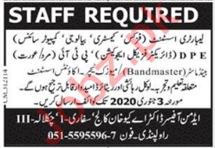 Doctor AQ Khan College Jobs 2020 in Rawalpindi