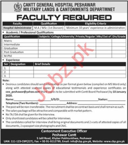 Cantt General Hospital Peshawar Jobs 2020 for Hospital Admin