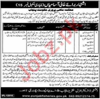 Punjab Fisheries Department Jobs 2020 for Assistant