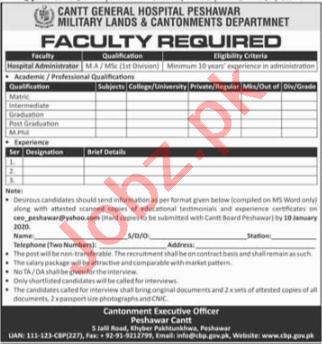 Cantt General Hospital Peshawar Jobs Hospital Administrator