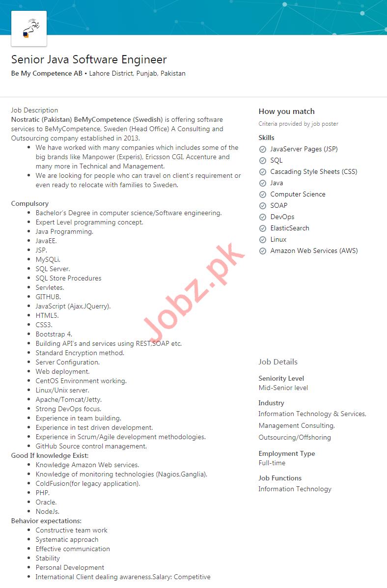 Nostratic Company Job For Senior Java Software Engineer