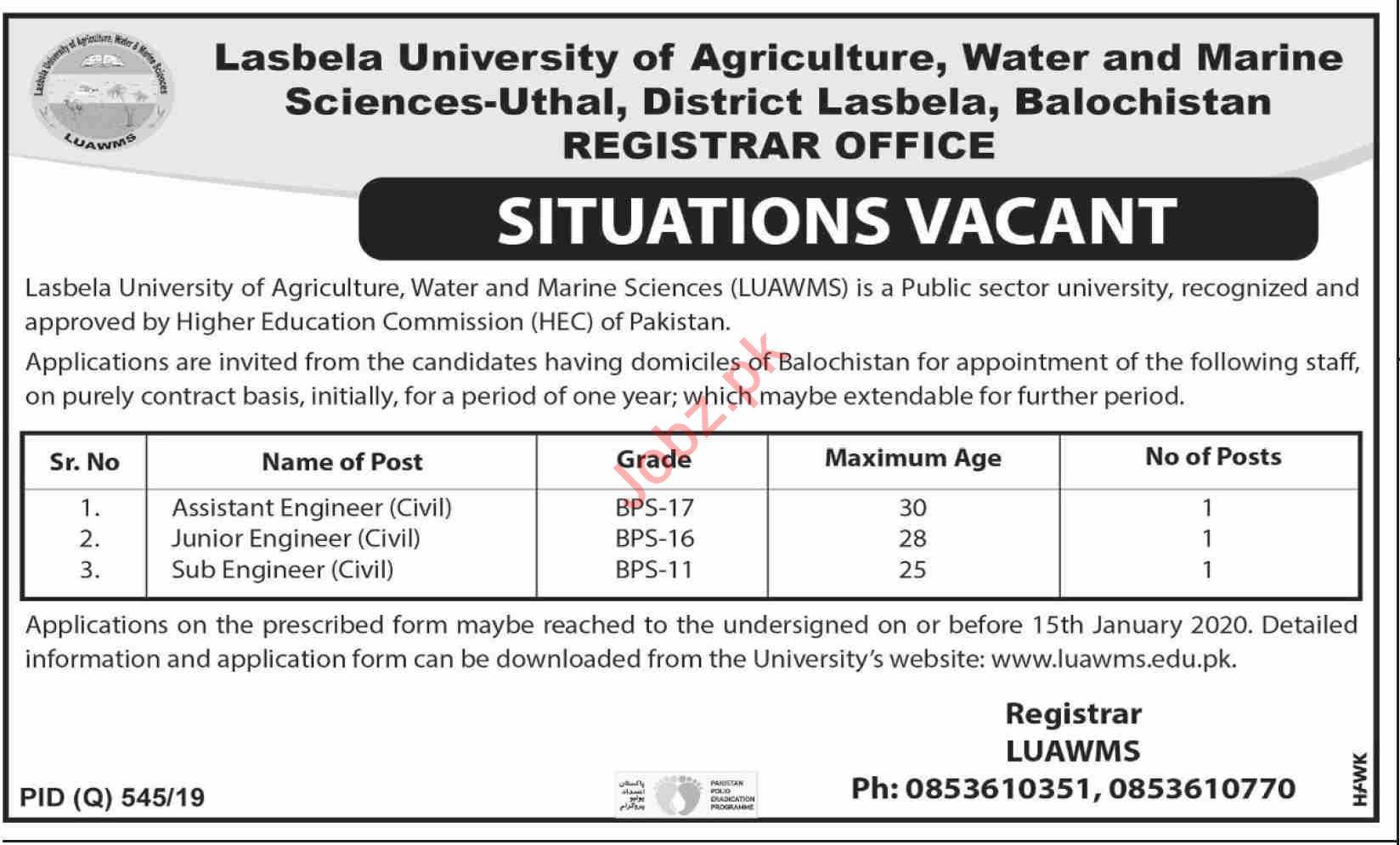 LUAWMS Lasbela University Jobs 2020 for Engineers
