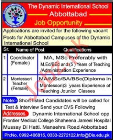 The Dynamic International School Abbottabad Jobs 2020