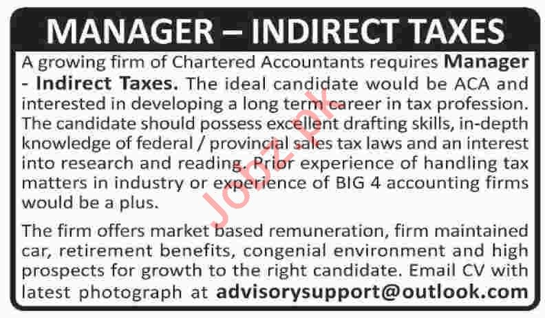 Manager Indirect Taxes Jobs 2020 in Karachi