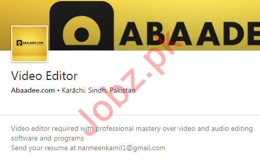 Video Editor Jobs in Abaadee Real Estate Consultant