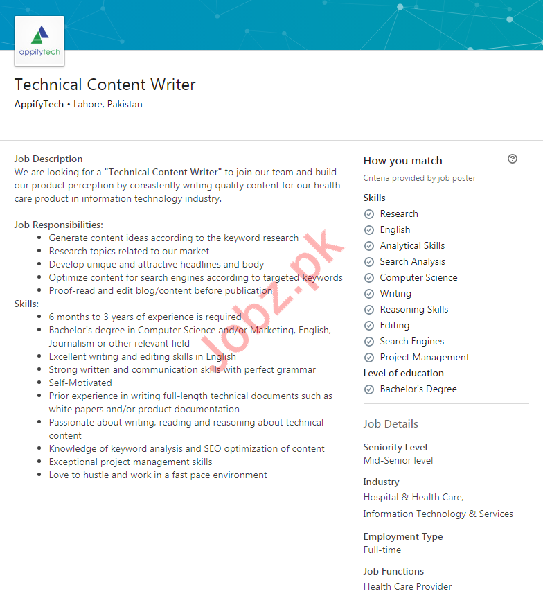 Technical Content Writer Job 2020 in Lahore