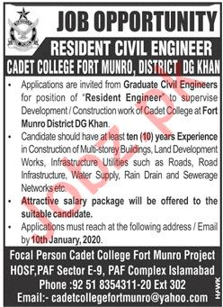 Pakistan Army Cadet College Job For Resident Civil Engineer