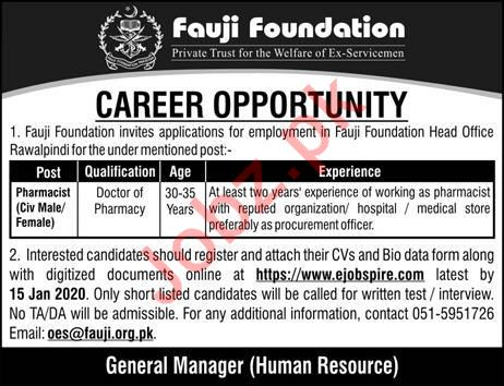 Fauji Foundation Rawalpindi Jobs 2020