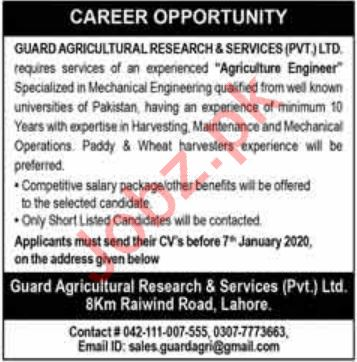 Guard Agricultural Research & Services Jobs 2020