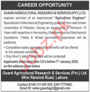 Agriculture Engineer Jobs in Guard Agricultural Research