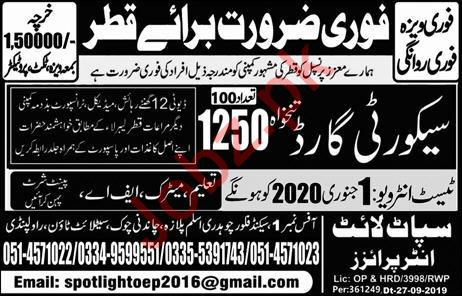 Security Guards Jobs 2020 In Qatar 2021 Job Advertisement Pakistan