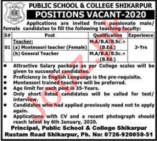 Public School & College Jobs For Teaching Staff in Shikarpur