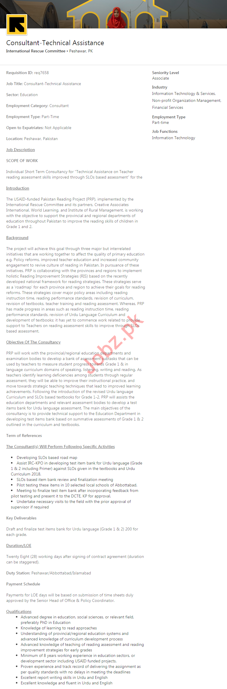 IRC International Rescue Committee Peshawar NGO Jobs 2020