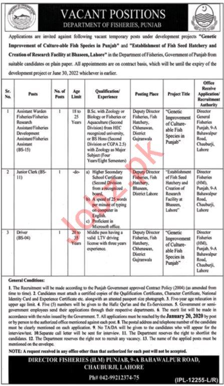 Department of Fisheries Jobs 2020 in Gujranwala & Lahore