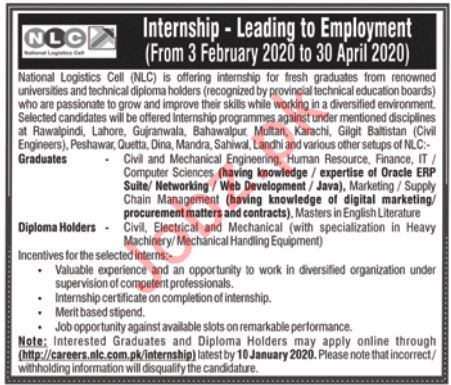 National Logistics Cell NLC Jobs 2020 For Internee