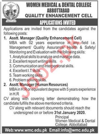 Women Medical & Dental College Jobs 2020 in Abbottabad KPK