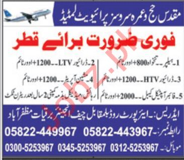 Machine Operator & Helpers Jobs 2020 in Karachi